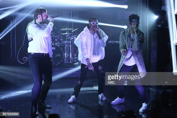 Musical guest Post Malone Quavo and Metro Boomin perform on March 23 2017