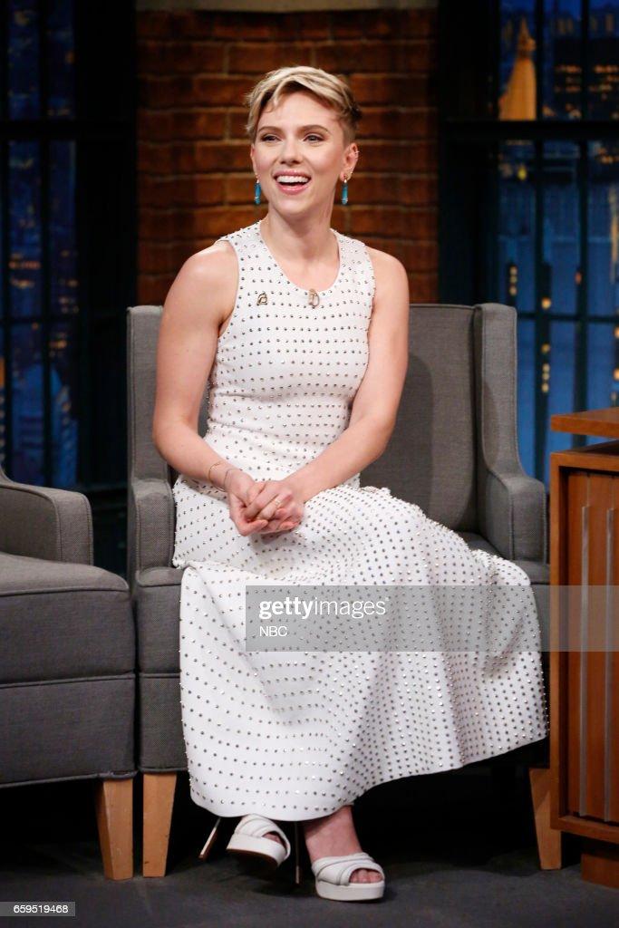 "NBC's ""Late Night with Seth Meyers"" With Guests Scarlett Johansson, Joe Scarborough & Mika Brzezinski, Mario Batali"