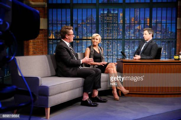 Joe Scarborough and Mika Brzezinski during an interview with host Seth Meyers on March 28 2017