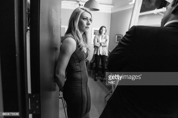 MEYERS Episode 511 Pictured Olympic skier Mikaela Shiffrin talks with host Seth Meyers backstage on March 29 2017