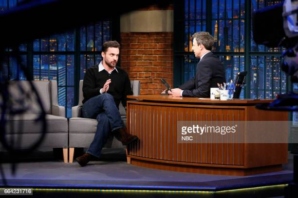 Actor Jake Johnson during an interview with host Seth Meyers on April 3 2017