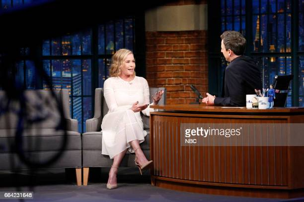 Episode 512 -- Pictured: Comedian Chelsea Handler during an interview with host Seth Meyers on April 3, 2017 --