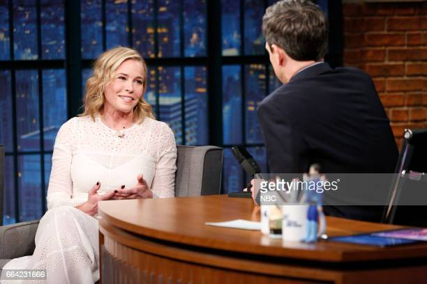 Comedian Chelsea Handler during an interview with host Seth Meyers on April 3 2017