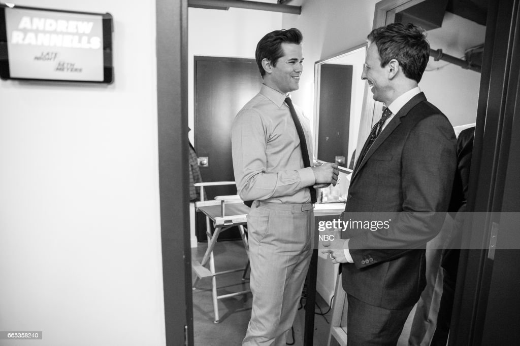 MEYERS -- (EXCLUSIVE COVERAGE) -- Episode 514 -- Pictured: (l-r) Actor Andrew Rannells talks to hose Seth Meyers backstage on April 5, 2017 --