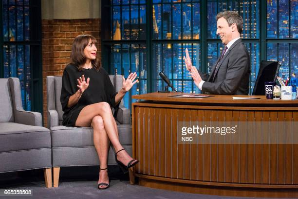 Actress Rashida Jones during an interview with host Seth Meyers on April 5 2017