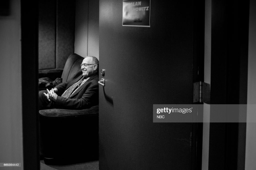 MEYERS -- (EXCLUSIVE COVERAGE) -- Episode 514 -- Pictured: Author Alan Dershowitz backstage on April 5, 2017 --