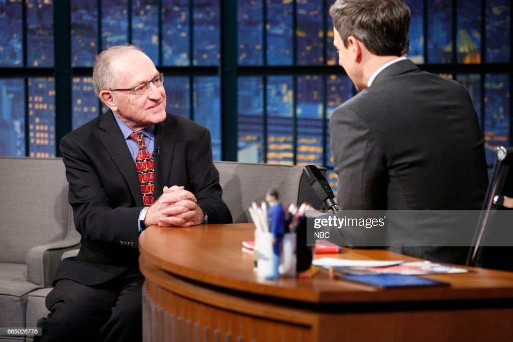 Author Alan Dershowitz during an interview with host Seth Meyers on April 5, 2017 --