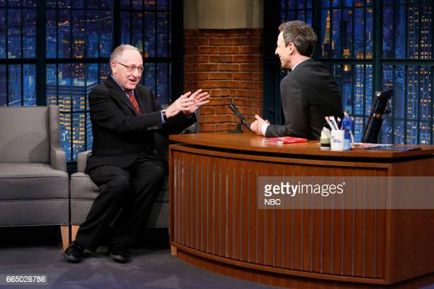Author Alan Dershowitz during an interview with host Seth Meyers on April 5 2017