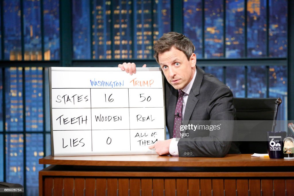 Host Seth Meyers at his desk on April 5, 2017 --