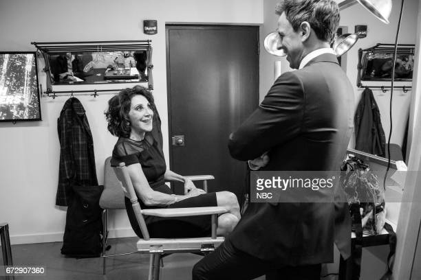 MEYERS Episode 516 Pictured Actress Andrea Martin talks with host Seth Meyers backstage on April 24 2017