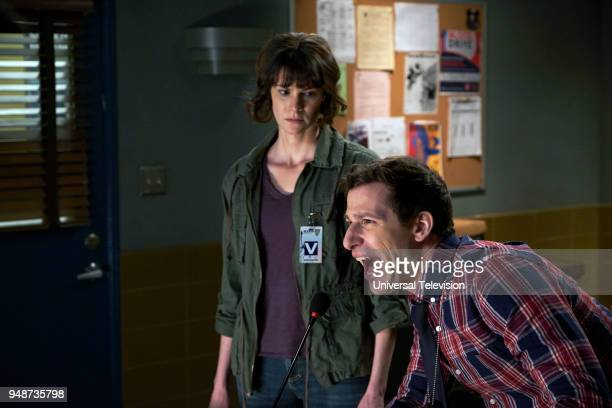 NINE 'DFW' Episode 517 Pictured Devin Sidell as Gwen Andy Samberg as Jake Peralta