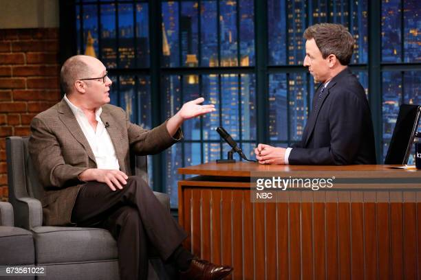 Actor James Spader during an interview with host Seth Meyers on April 26 2017