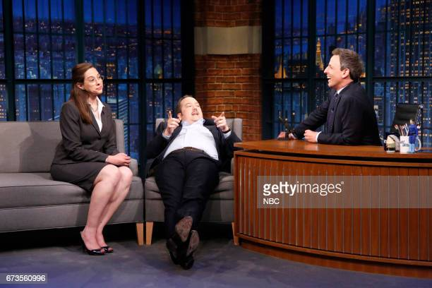 Jenny Hagel and John Lutz with host Seth Meyers during the 'Trump Speech Writers' sketch on April 26 2017