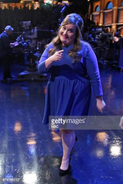 Comedian Aidy Bryant walks offstage after her interview on April 27 2017