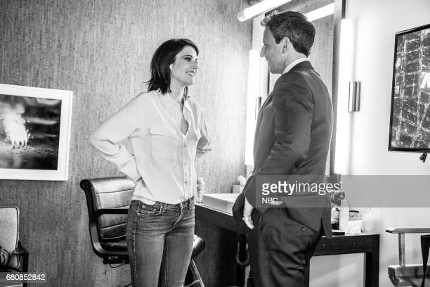 MEYERS Episode 524 Pictured Actress Cobie Smulders talks with host Seth Meyers backstage on May 8 2017