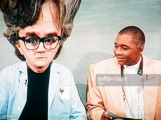 Host Jay Leno with bandleader Branford Marsalis during Mr Brain segment on August 26 1994