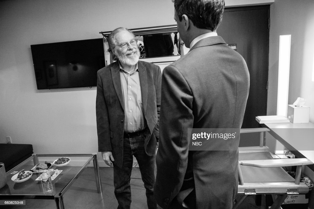 MEYERS -- (EXCLUSIVE COVERAGE) -- Episode 528 -- Pictured: (l-r) Actor Michael McKean talks with host Seth Meyers backstage on May 15, 2017 --