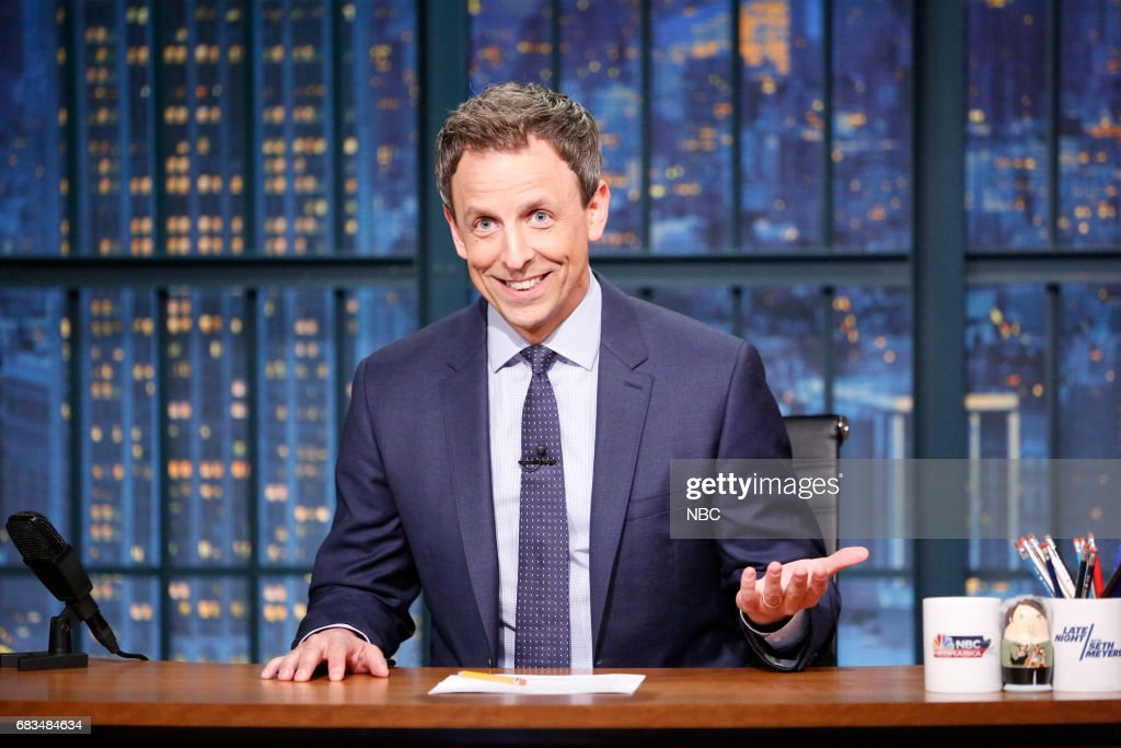 Host Seth Meyers at his desk on May 15, 2017 --