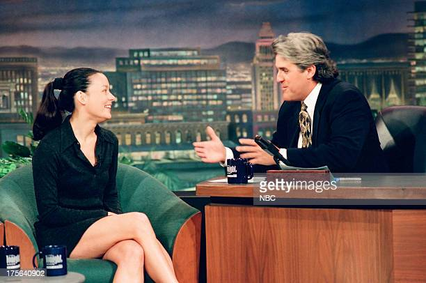 Episode 529 -- Pictured: Actress Meg Tilly during an interview with host Jay Leno on September 7, 1994 --