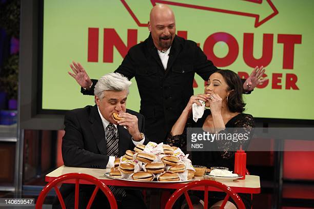 SHOW Episode 53 Air Date Pictured Host Jay Leno Howie Mandel actress Paula Patton during Earn Your Plug on November 25 2009 Photo by Justin...
