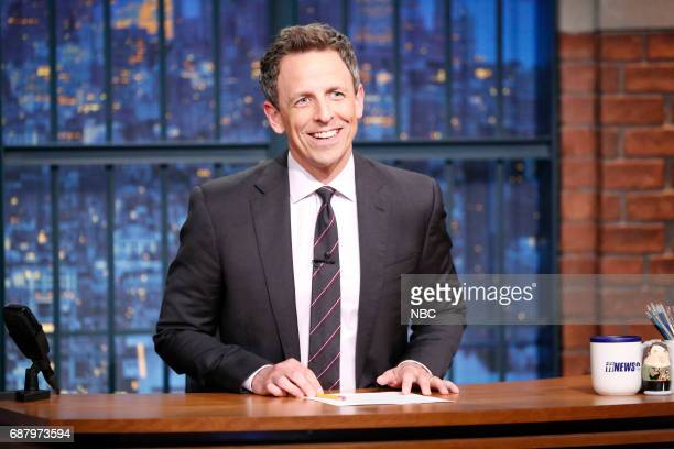 Host Seth Meyers at his desk on May 24 2017
