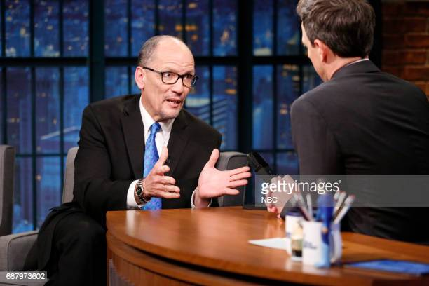Tom Perez Chair of the Democratic National Committee talks with host Seth Meyers during an interview on May 24 2017