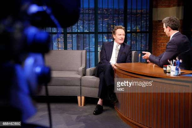 Actor Bryan Cranston talks with host Seth Meyers during an interview on May 25 2017