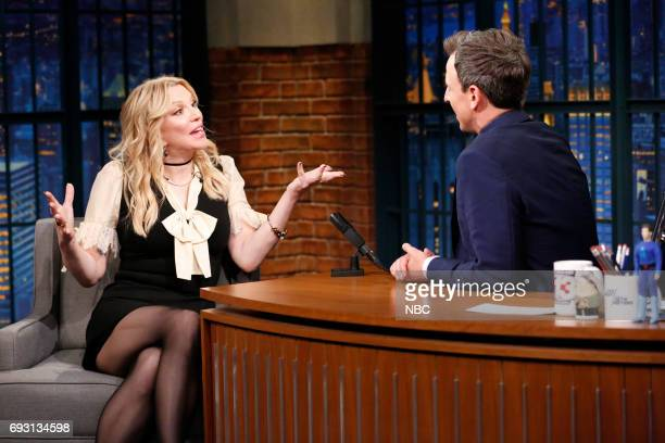 Musician/actress Courtney Love talks with host Seth Meyers during an interview on June 6 2017