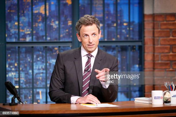 Host Seth Meyers at his desk on June 7 2017