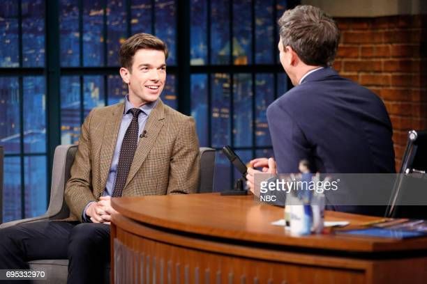 Comedian John Mulaney talks with host Seth Meyers during an interview on June 12 2017