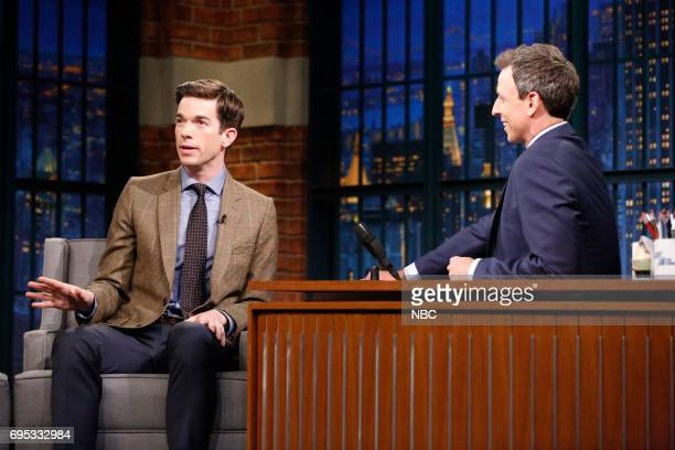 Episode 540 -- Pictured: Comedian John Mulaney talks with host Seth Meyers during an interview on June 12, 2017 --