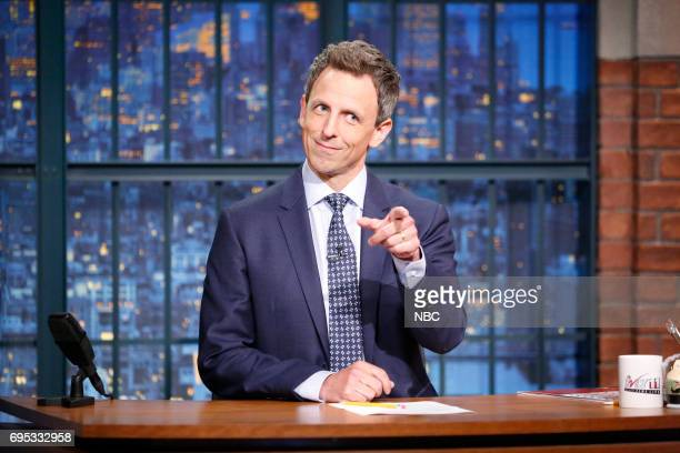 Host Seth Meyers at his desk on June 12 2017