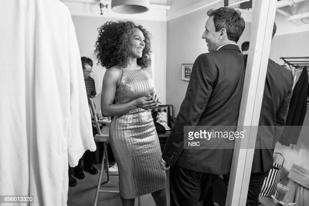 MEYERS Episode 541 Pictured Author Janet Mock talks with host Seth Meyers backstage on June 13 2017