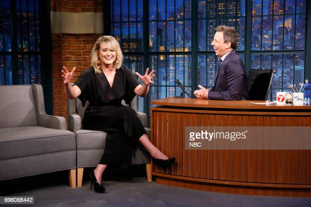 Actress Taylor Schilling talks with host Seth Meyers during an interview on June 14 2017