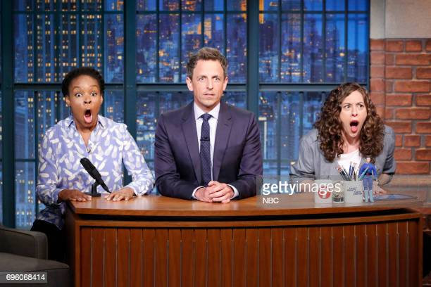 Amber Ruffin host Seth Meyers and Jenny Hagel during 'Jokes Seth Can't Tell' sketch on June 14 2017