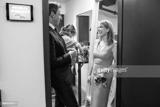 MEYERS Episode 546 Pictured Host Seth Meyers with Journalist Nicolle Wallace backstage on June 21 2017