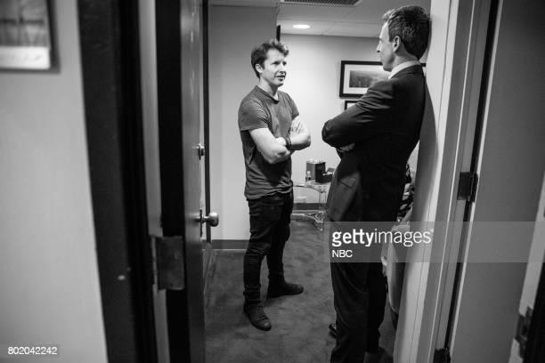 MEYERS Episode 548 Pictured Musical guest James Blunt talks with host Seth Meyers backstage on June 26 2017