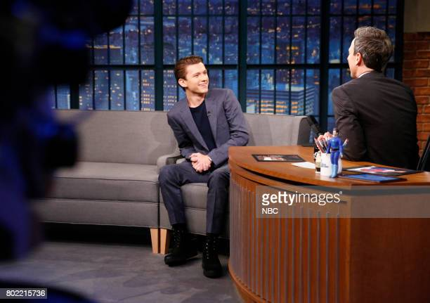 Actor Tom Holland during an interview with host Seth Meyers on June 27 2017