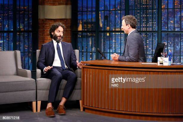 Actor Jason Mantzoukas talks with host Seth Meyers during an interview on June 29 2017