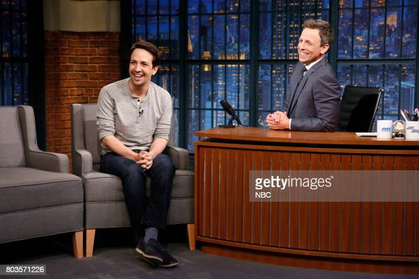 Actor LinManuel Miranda talks with host Seth Meyers during an interview on June 29 2017