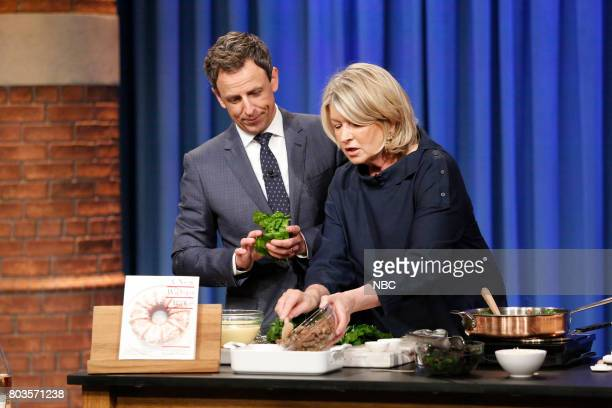 Host Seth Meyers and Martha Stewart during a cooking segment on June 29 2017