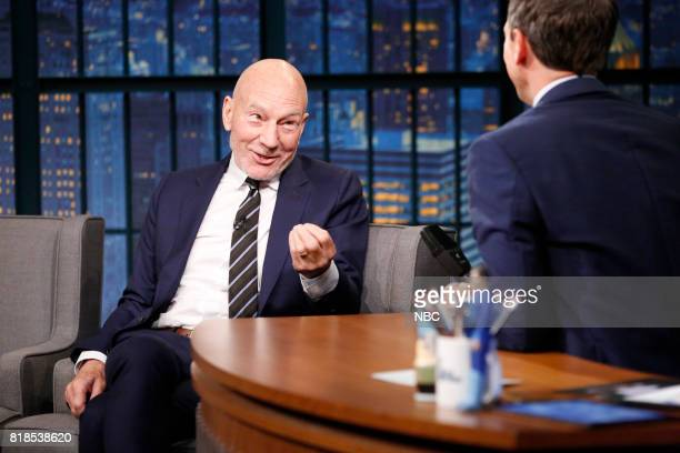 Actor Patrick Stewart talks with host Seth Meyers during an interview on July 18 2017