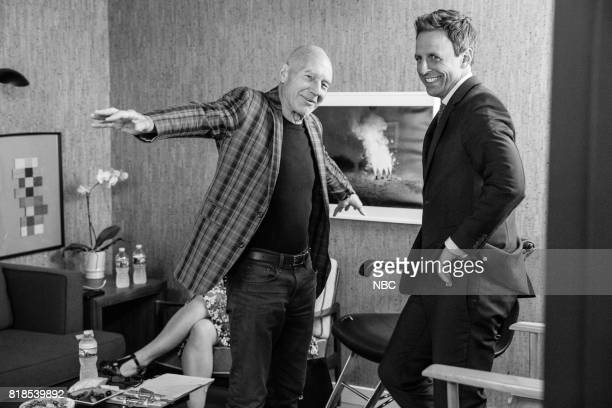MEYERS Episode 553 Pictured Actor Patrick Stewart talks with host Seth Meyers backstage on July 18 2017