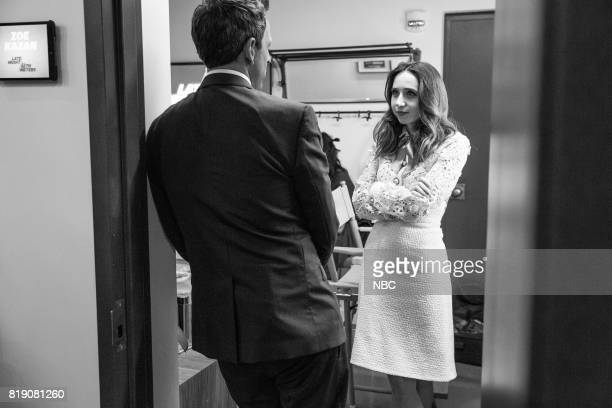 MEYERS Episode 554 Pictured Host Seth Meyers talks with actress Zoe Kazan backstage on July 19 2017