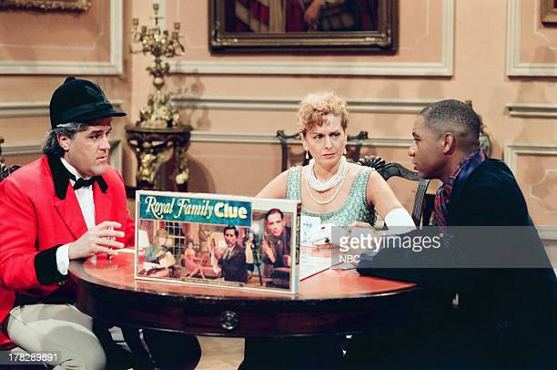 Host Jay Leno Stage manager Roberta Kantola Band Leader Brandford Marsalis during Royal Family Clue skit on October 14 1994