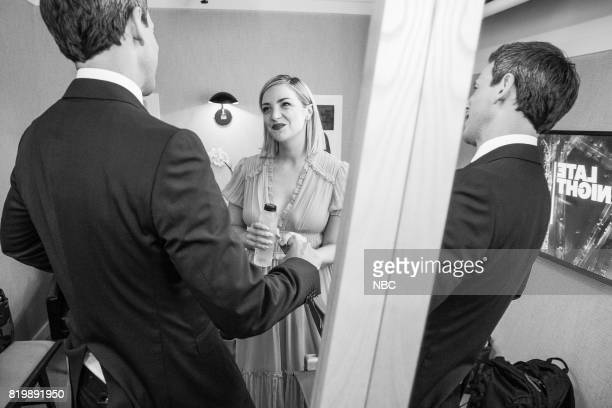 MEYERS Episode 555 Pictured How Seth Meyers talks with actress Abby Elliott backstage on July 19 2017