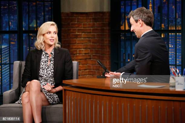 Actress Charlize Theron talks with host Seth Meyers during an interview on July 24 2017