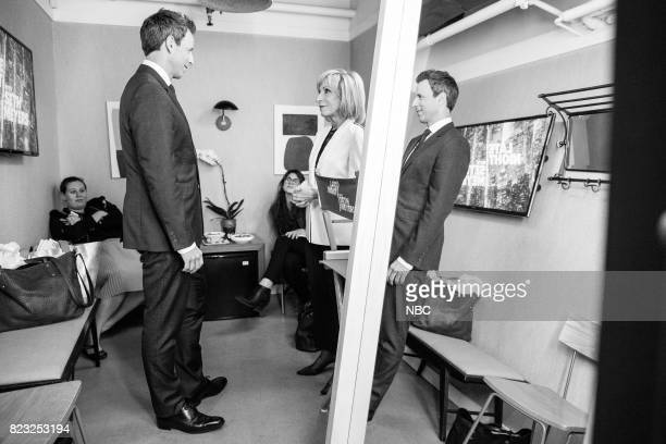 MEYERS Episode 558 Pictured Host Seth Meyers talks with NBC News' Andrea Mitchell backstage on July 26 2017