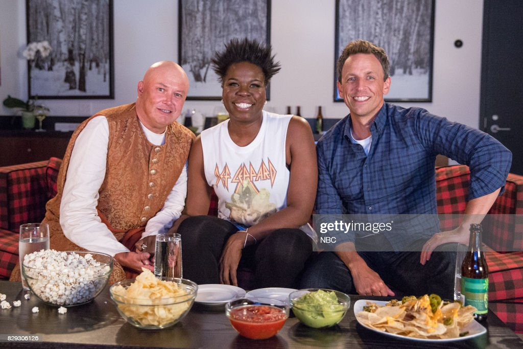 Conleth Hill, Leslie Jones, Seth Meyers during 'Game of Jones' sketch on August 9, 2017 --