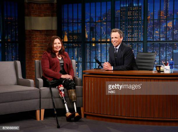 Senator Tammy Duckworth during an interview with host Seth Meyers on August 10 2017